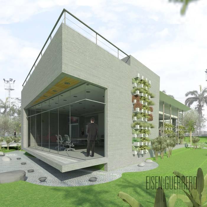 Vista Lateral-Frontal (sur-oeste) al edificio EXPERIENCE CENTRE: Casas de estilo  por Eisen Arquitecto