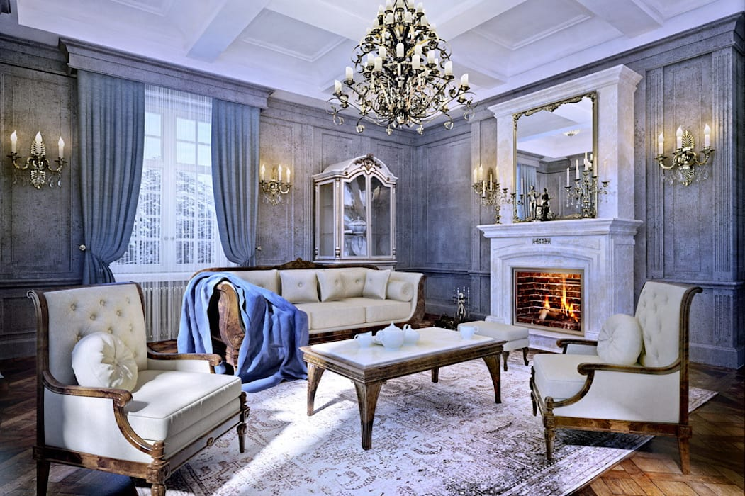 Living room by Design studio of Stanislav Orekhov. ARCHITECTURE / INTERIOR DESIGN / VISUALIZATION., Classic