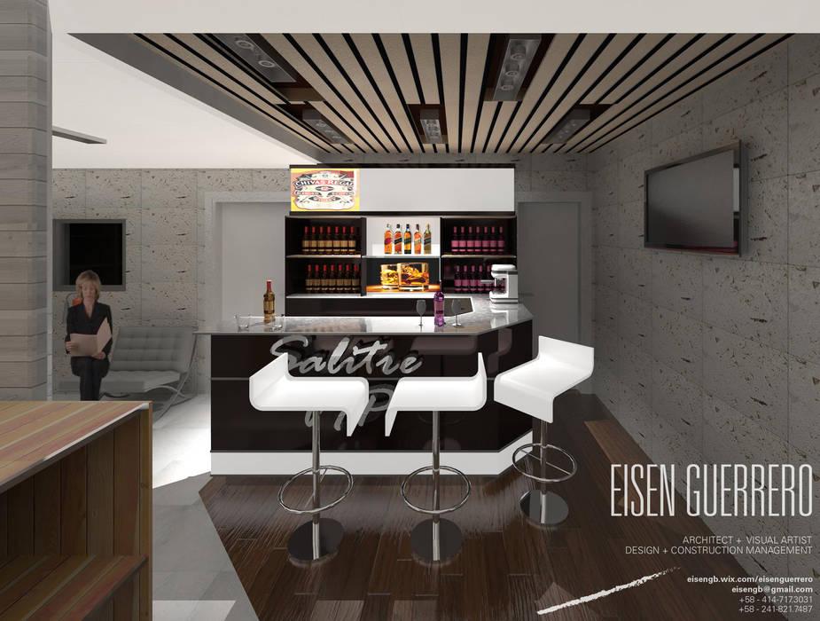 Vista Barra VIP. Minimarket  La Barrica. 2015: Bodegas de vino de estilo  por Eisen Arquitecto