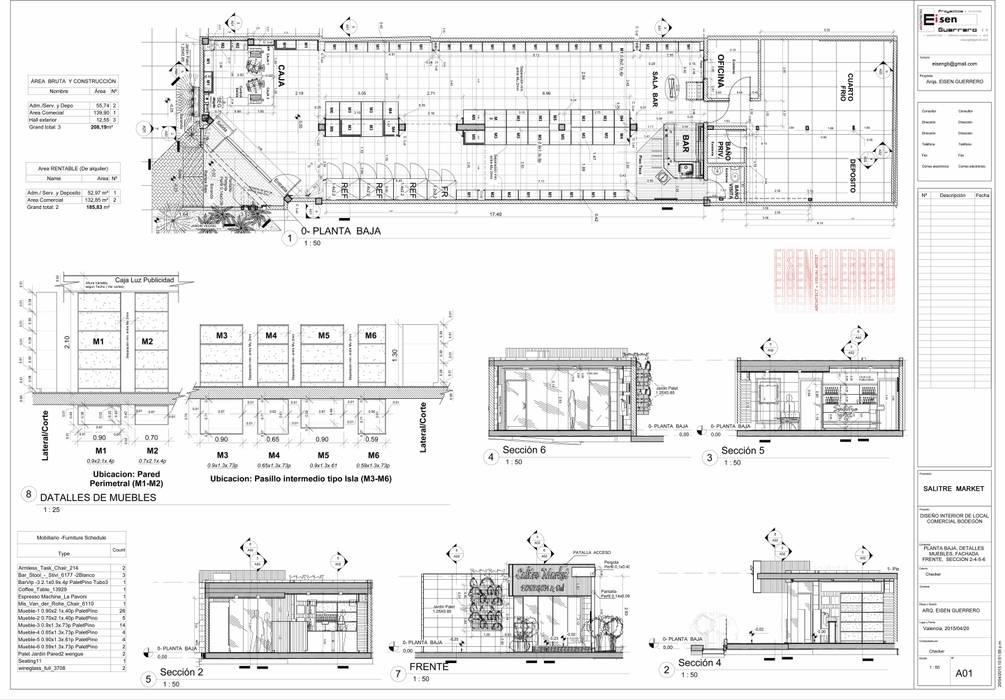 Plano A01 Distribución y Clasificacion del Mobiliario: Bodegas de vino de estilo  por Eisen Arquitecto