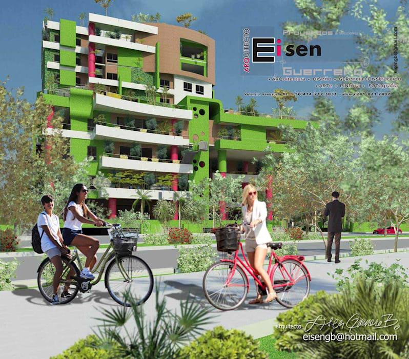 Vista exterior desde la ciclovía de enlace del eje del parque, conexiones aéreas e hitos urbanos, al edificio.Paredes y techos verdes. : Casas de estilo  por Eisen Arquitecto