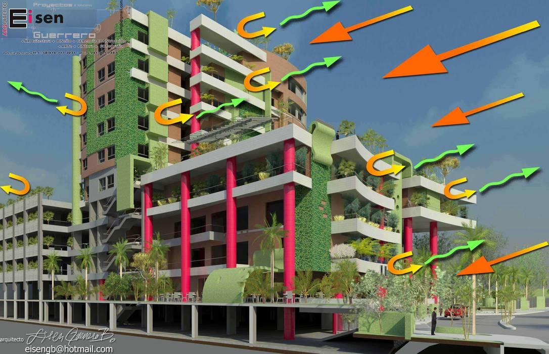 Vista exterior Sur-oeste del edificio. Análisis climático de rebote de luz solar.: Casas de estilo moderno por Eisen Arquitecto