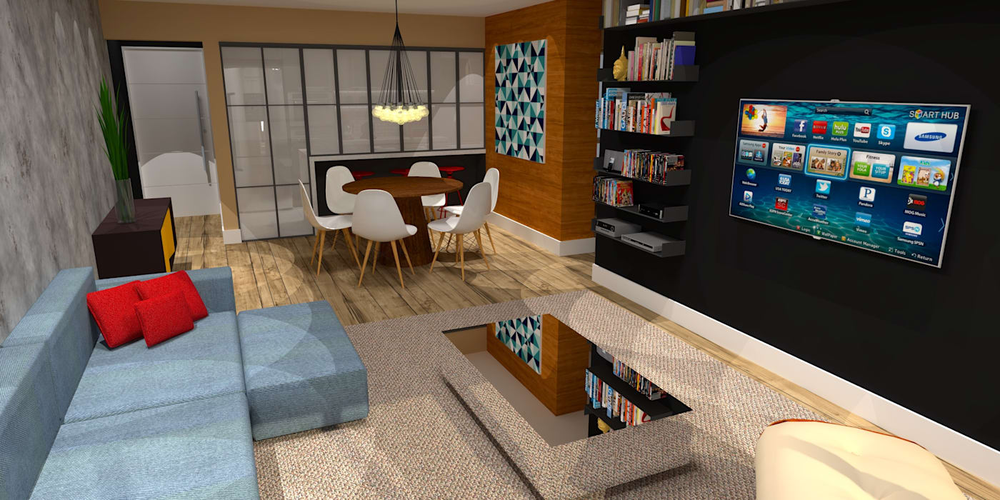 Apartamento - AOS 06 - Octogonal - Brasília/DF Arquitetura do Brasil Salas de estar modernas