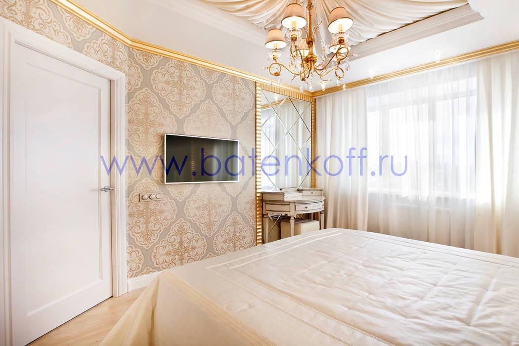 Фото реализованной спальни в ЖК Адмиральский от дизайн студии Батенькофф в классическом стиле. Спальня в классическом стиле от homify Классический МДФ