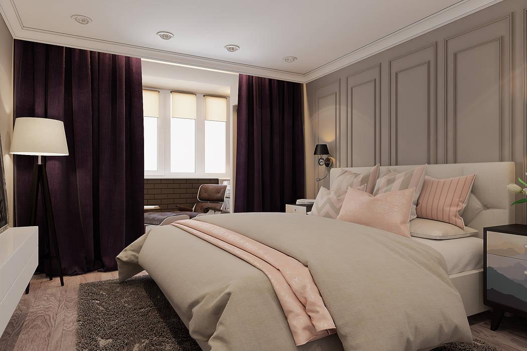 Визуализации проекта квартиры г.Сургут, ул.Киртбая 37 Спальня в стиле модерн от Alyona Musina Модерн