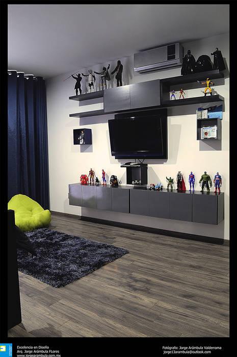 sala de t.v.: Salas multimedia de estilo moderno por Excelencia en Diseño