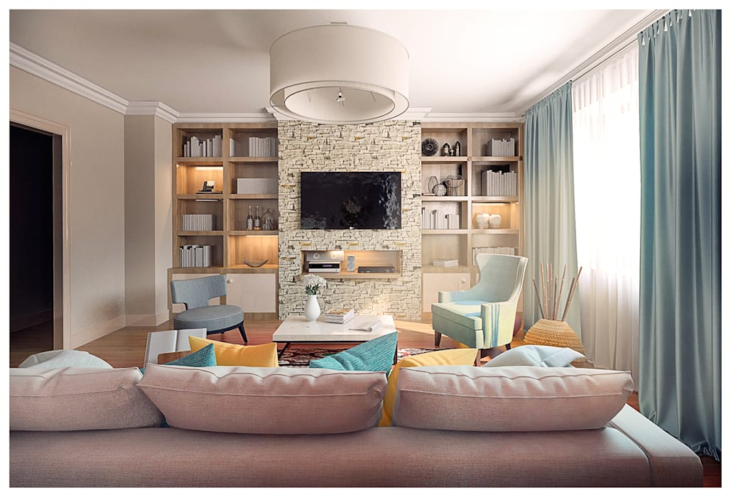 3-bedroom Apartment, Moscow by Alexander Krivov Classic Limestone