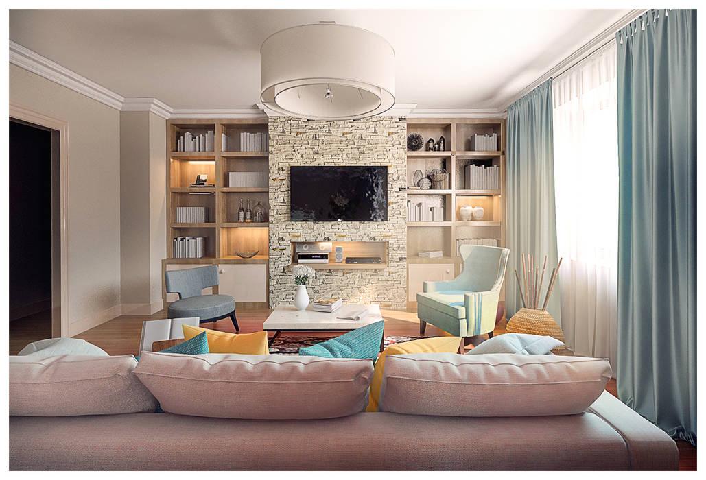 Квартира в стиле фьюжн Alexander Krivov Гостиная в классическом стиле Известняк Бежевый