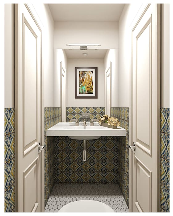 3-bedroom Apartment, Moscow Alexander Krivov Classic style bathroom Green