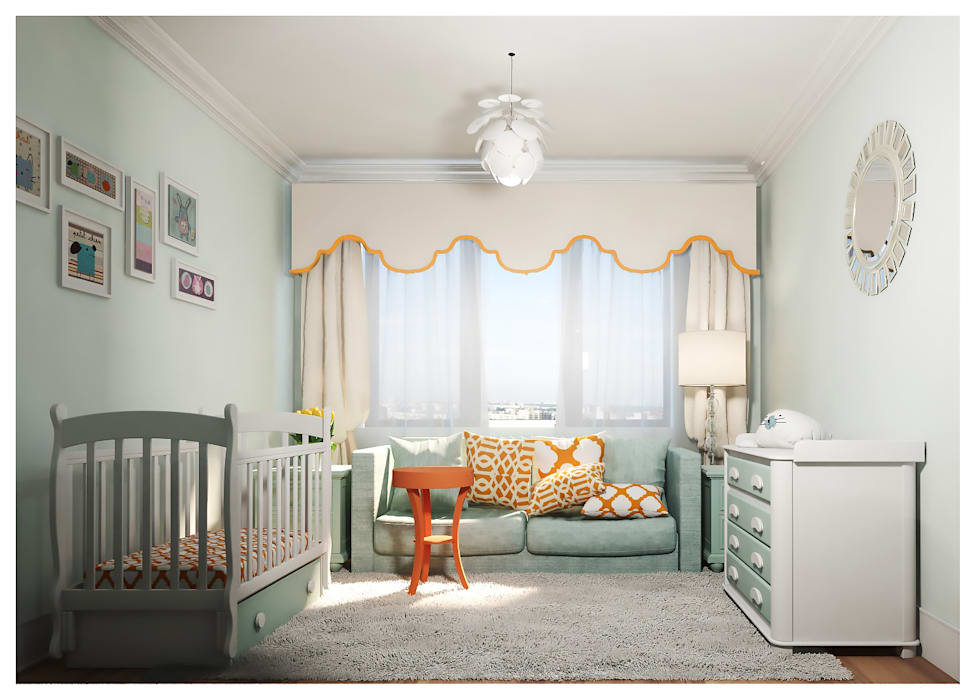 3-bedroom Apartment, Moscow Alexander Krivov Classic style nursery/kids room Turquoise