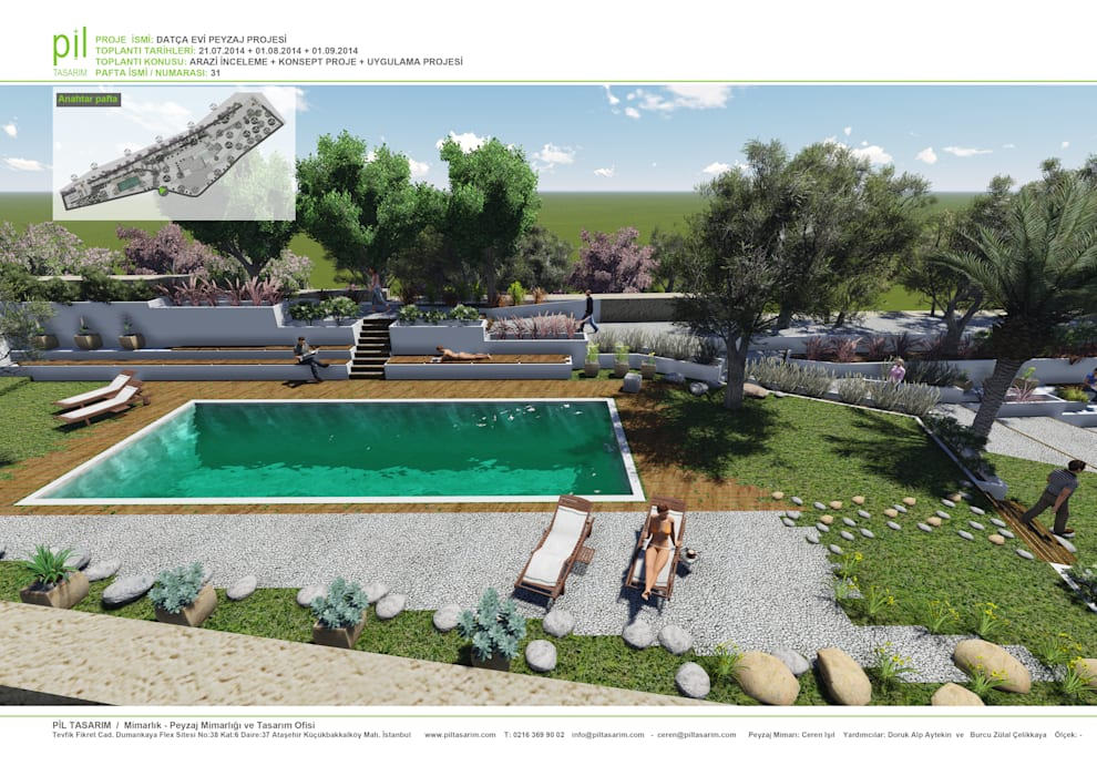 Datça'da Konut Peyzajı Pil Tasarım Mimarlik + Peyzaj Mimarligi + Ic Mimarlik Akdeniz Bahçe Bej