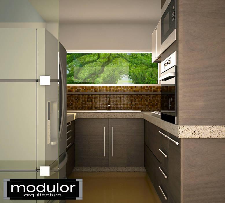 Modern kitchen by Modulor Arquitectura Modern Wood Wood effect