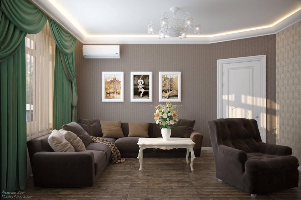 Дизайн гостиной в классическом стиле в пос. Краснодарский Гостиная в классическом стиле от Студия интерьерного дизайна happy.design Классический
