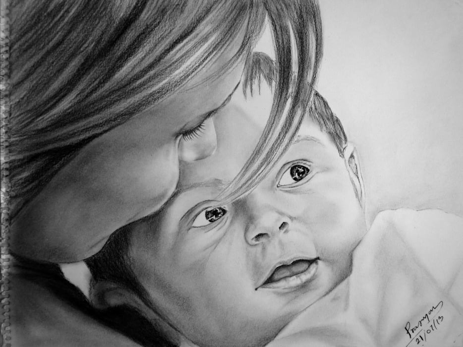 Mother's Love - Pragyan Kranti Indian Art Ideas ArtworkPictures & paintings