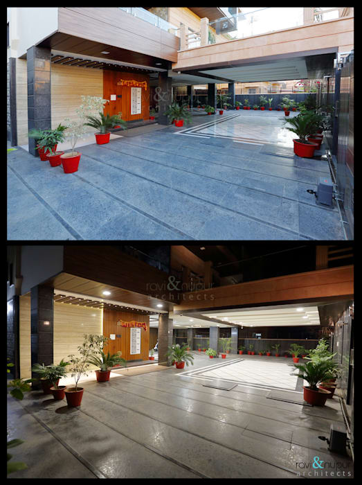 Entrance to the Grand Residence Modern balcony, veranda & terrace by RAVI - NUPUR ARCHITECTS Modern Granite