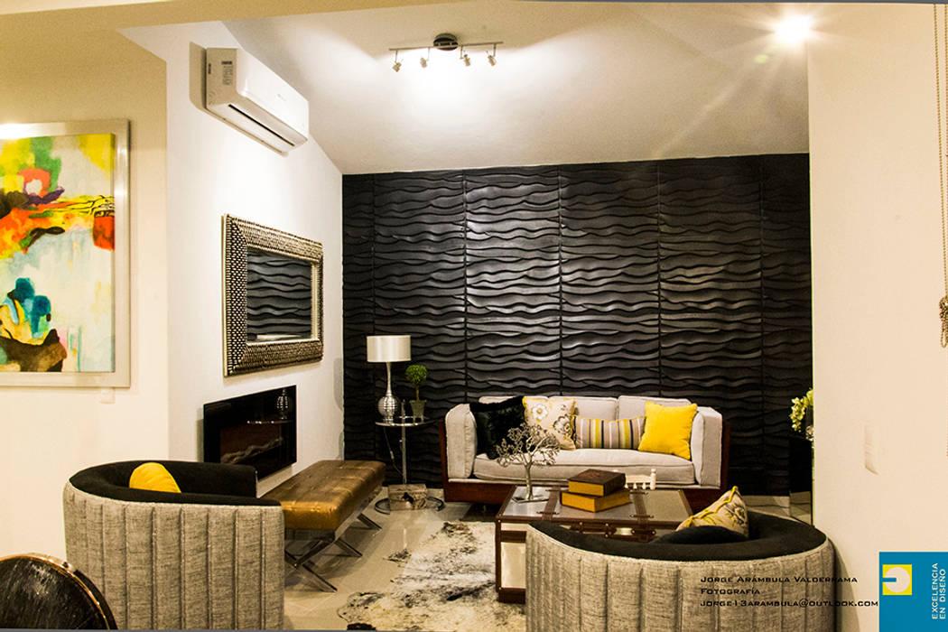 Salon de style  par Excelencia en Diseño, Moderne Bois d'ingénierie Transparent