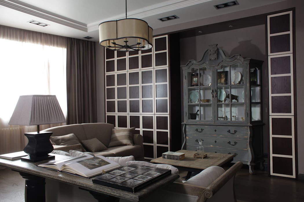 Apartment in Kurkino (Moscow) RU: Salon de style  par Petr Kozeykin Designs LLC, 'PS Pierreswatch'