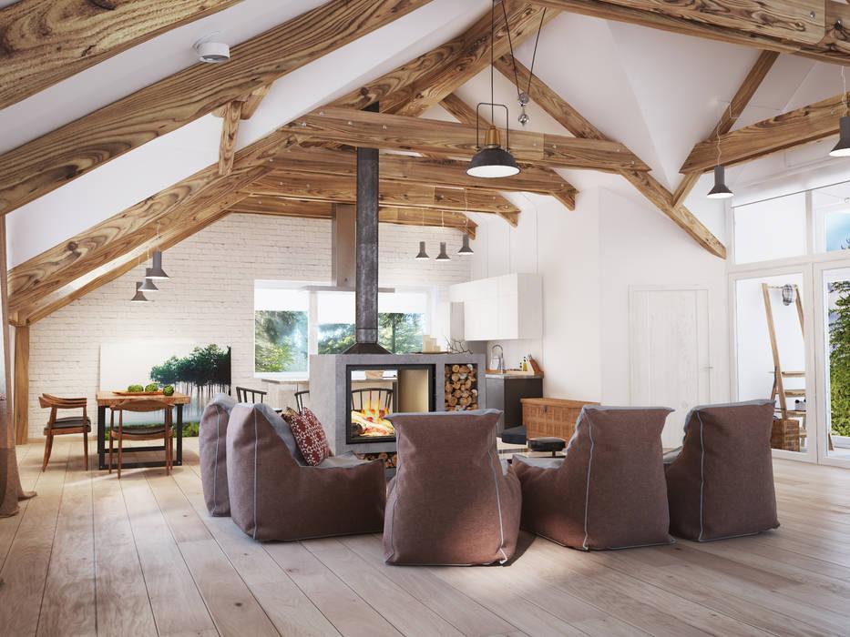 Salas de estar escandinavas por Polygon arch&des Escandinavo