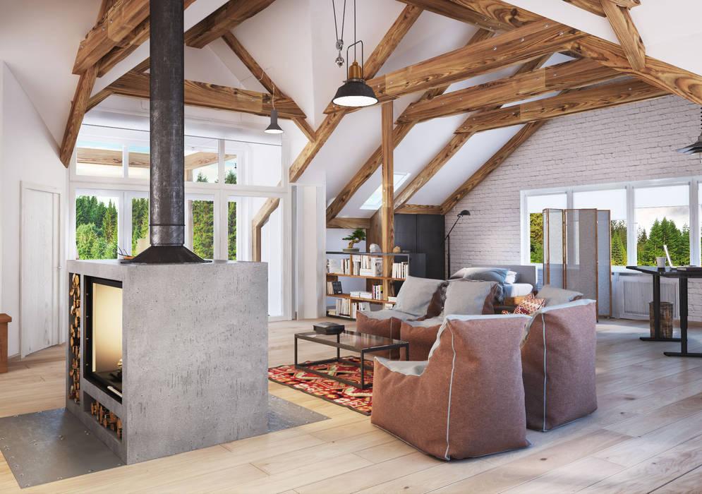 Scandinavian style living room by Polygon arch&des Scandinavian