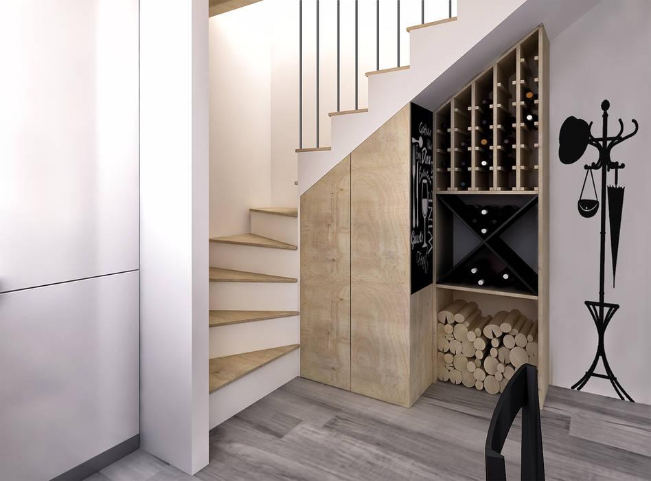 Sottoscala che ospita cantina e dispensa_Luigia Pace per InteriorBE: Cantina in stile in stile Rustico di redesign lab