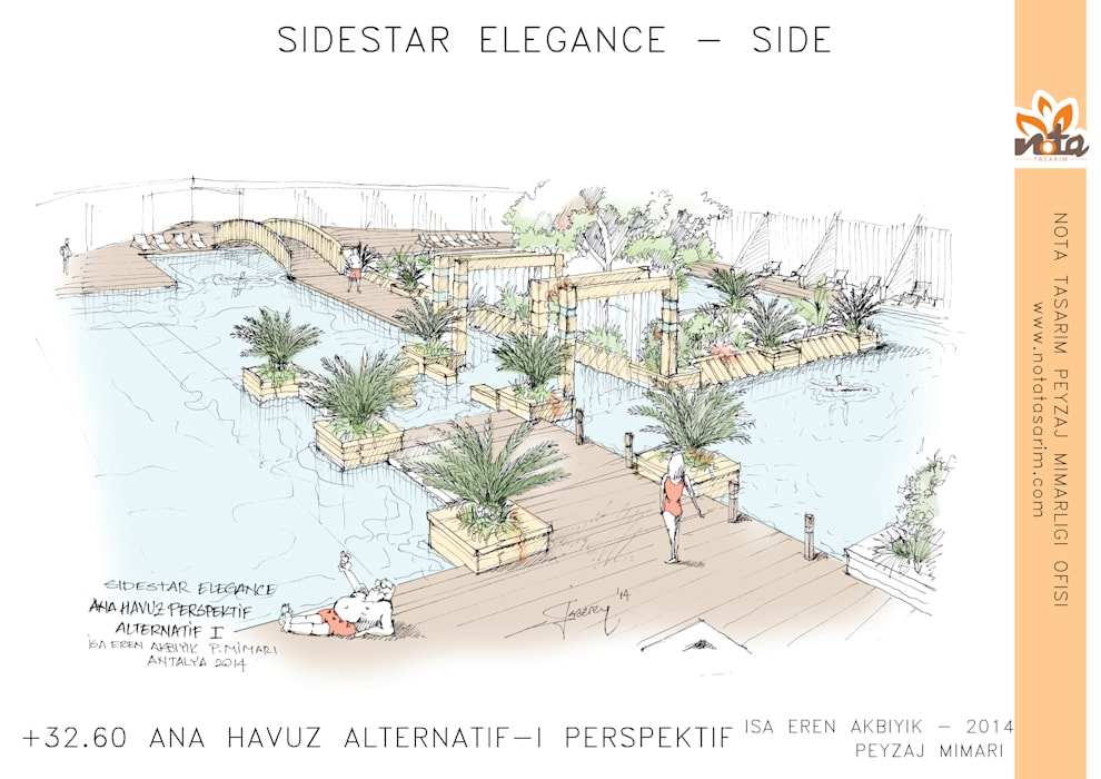 Nota Tasarım Peyzaj Mimarlığı Ofisi – Ana Havuz Konsept:  tarz Havuz, Akdeniz