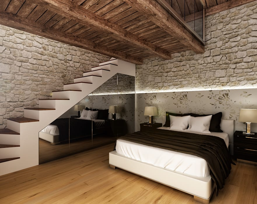 Rustic style bedroom by Architetto Luigia Pace Rustic Wood Wood effect