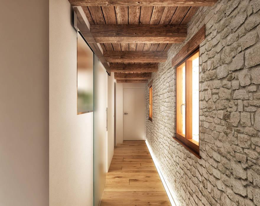 Couloir, entrée, escaliers rustiques par Architetto Luigia Pace Rustique Bois Effet bois