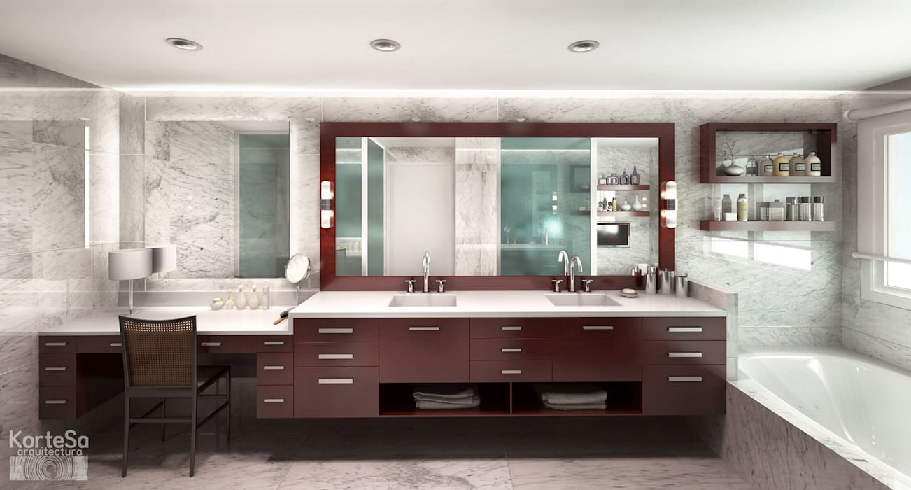 KorteSa arquitectura Eclectic style bathrooms Marble White