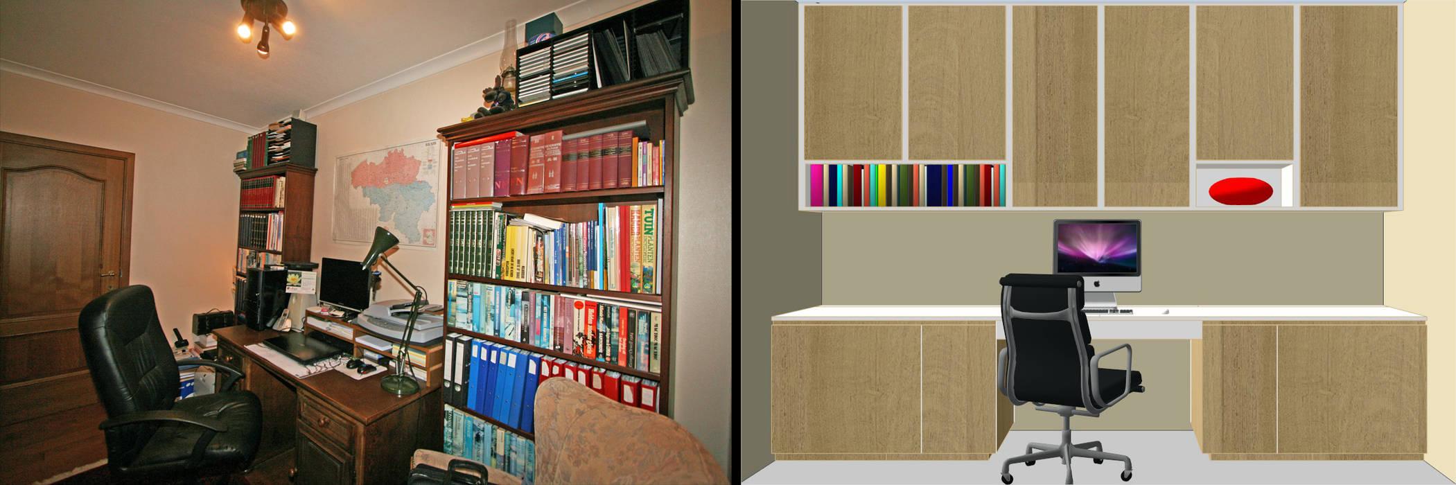 Restyling van een thuiskantoor:  Studeerkamer/kantoor door Sfeerontwerp