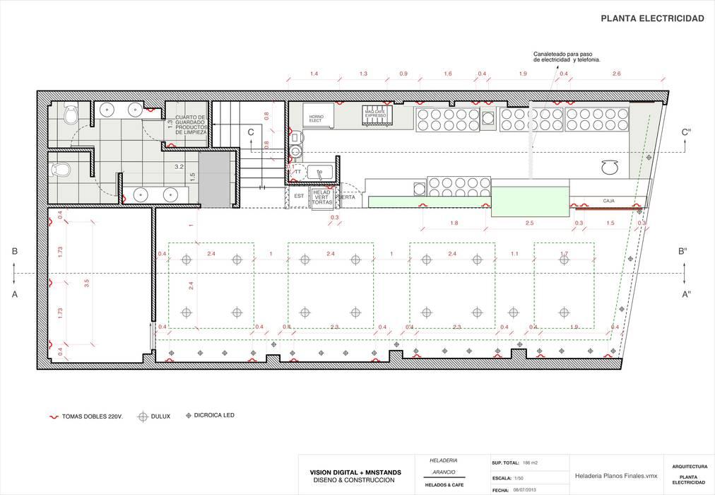 Planta Modelo del Proyecto : Bares y Clubs de estilo  por Vision Digital Architecture,Moderno