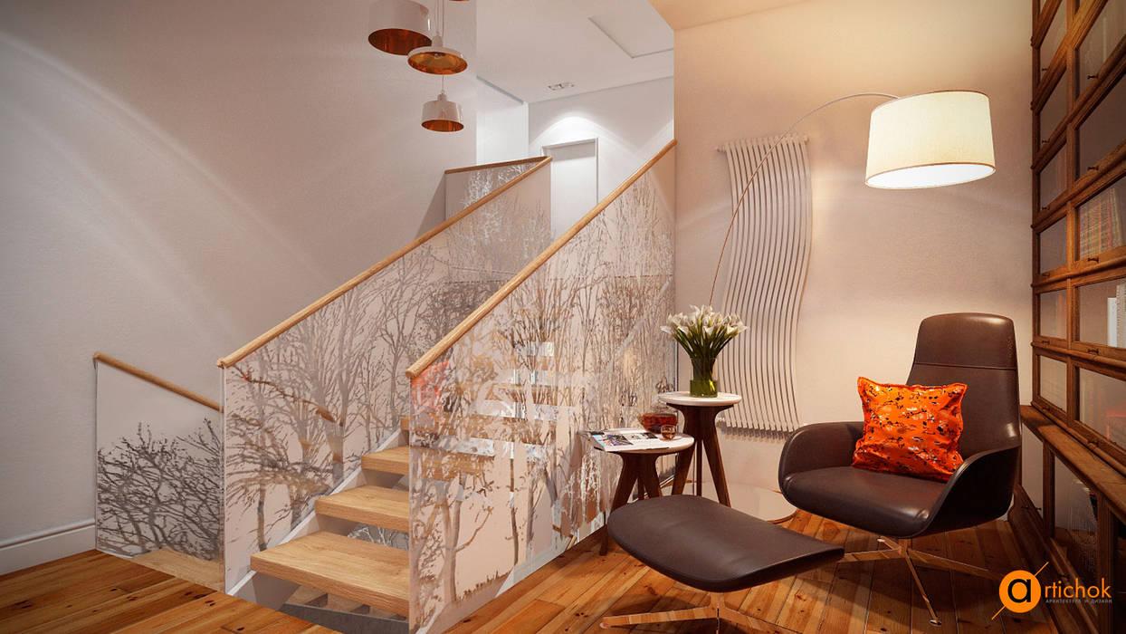 Scandinavian style corridor, hallway& stairs by Artichok Design Scandinavian