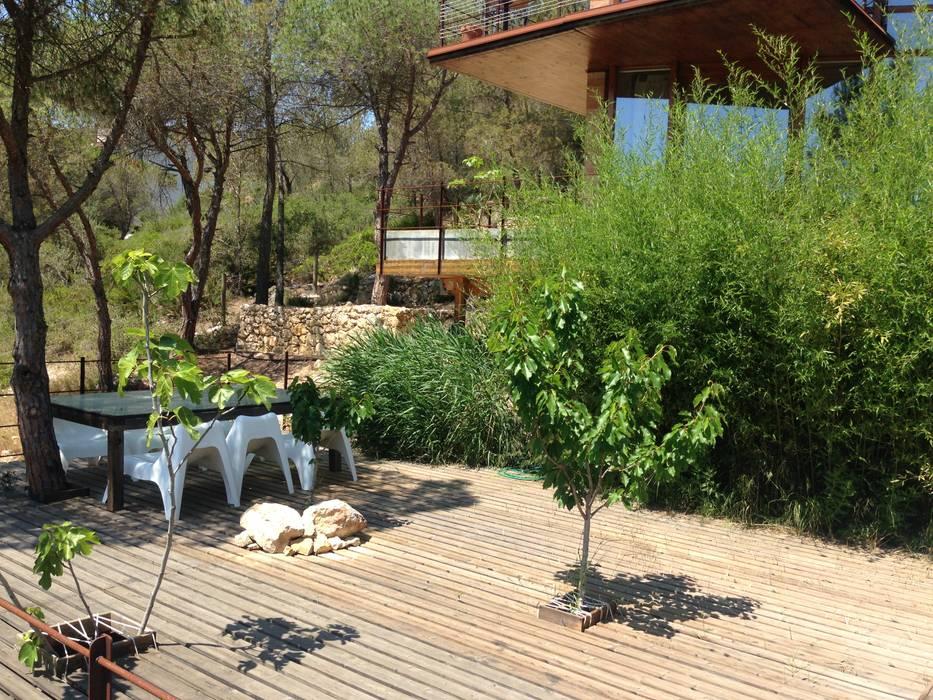Casa Autosuficiente en el Garraf: Piscinas de estilo  de ABCDEstudio, Mediterráneo Madera Acabado en madera