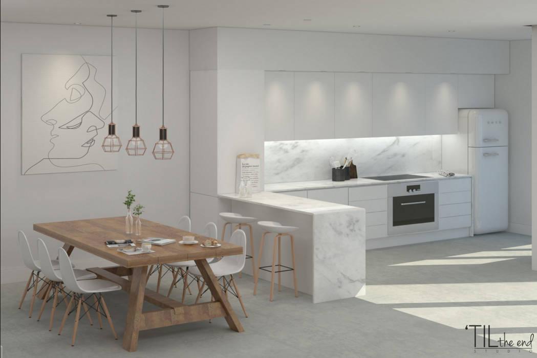 Scandinavian style dining room by Lagom studio Scandinavian Marble