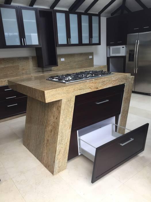 Isla Estufa Cocinas modernas de LOPEZCAJIAO Moderno Madera Acabado en madera