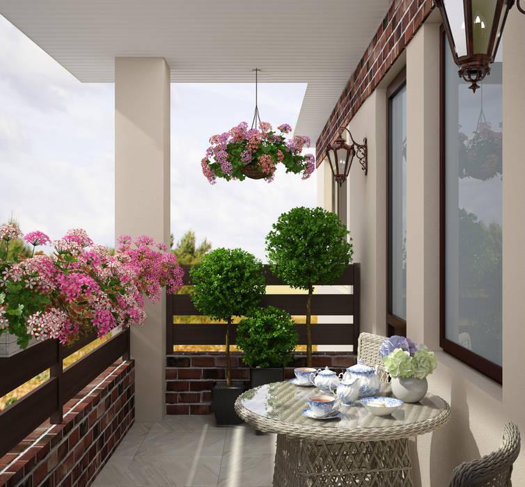 Студия дизайна Дарьи Одарюк Eclectic style balcony, veranda & terrace Multicolored