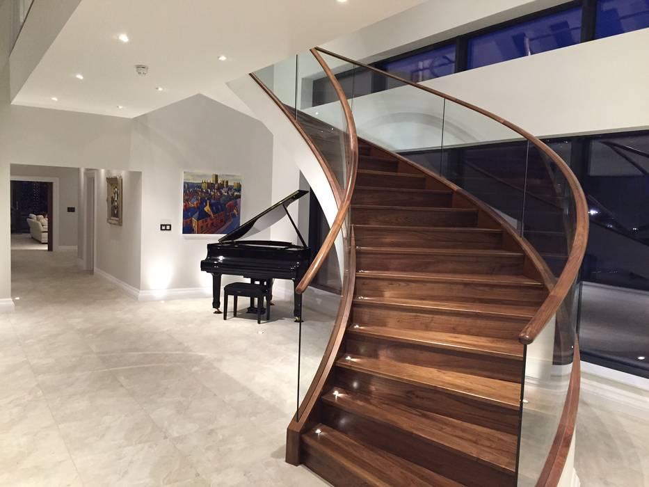 Luxury Staircase Modern corridor, hallway & stairs by Haldane UK Modern Wood Wood effect