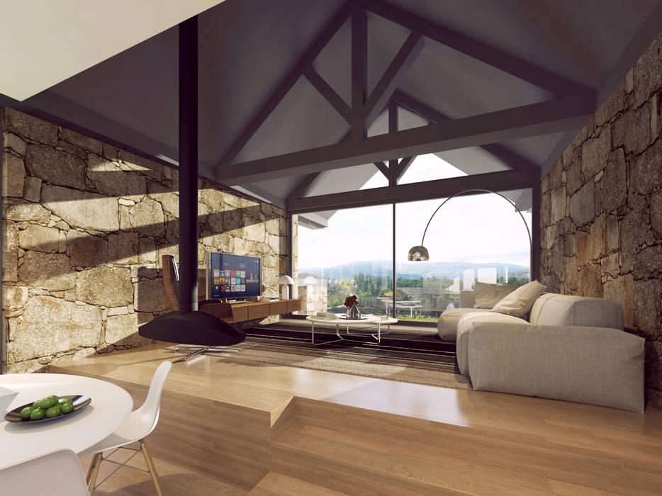 imagem 3d - sala de estar: Salas de estar  por Davide Domingues Arquitecto,