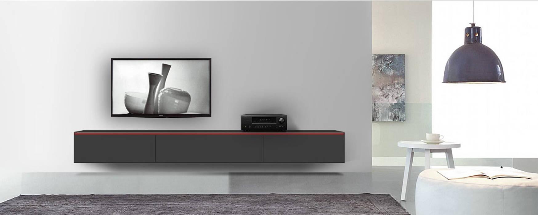 Reverse Tv Lowboard Konfigurator 3m Schwarz Matt Mit Griff Rot