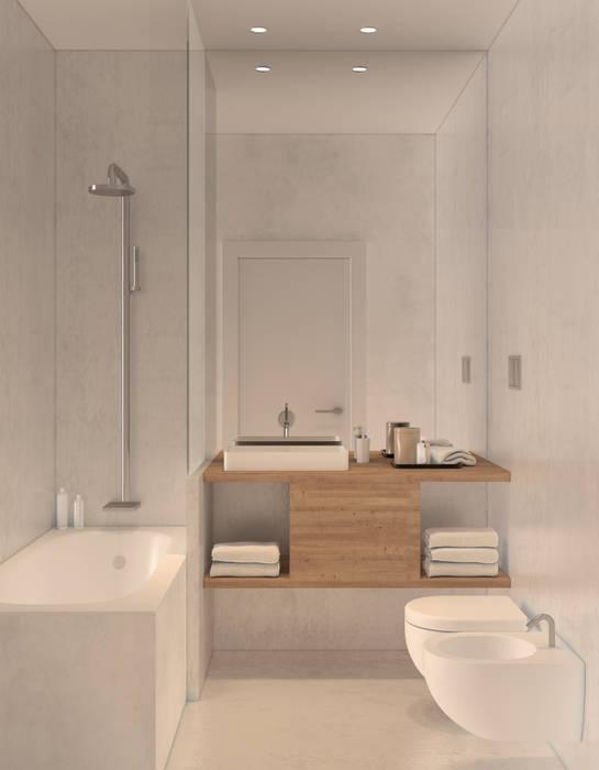 Bathroom 1 Lagom studio Casas de banho minimalistas Betão Branco