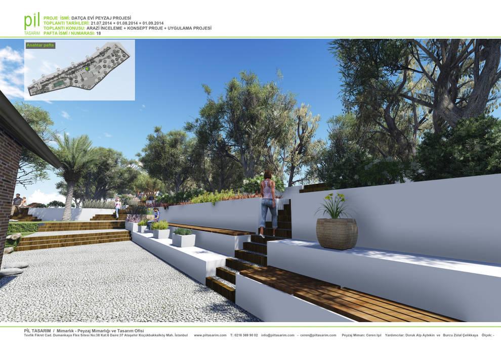 Datça'da Konut Peyzajı Pil Tasarım Mimarlik + Peyzaj Mimarligi + Ic Mimarlik Akdeniz Bahçe Ahşap Beyaz
