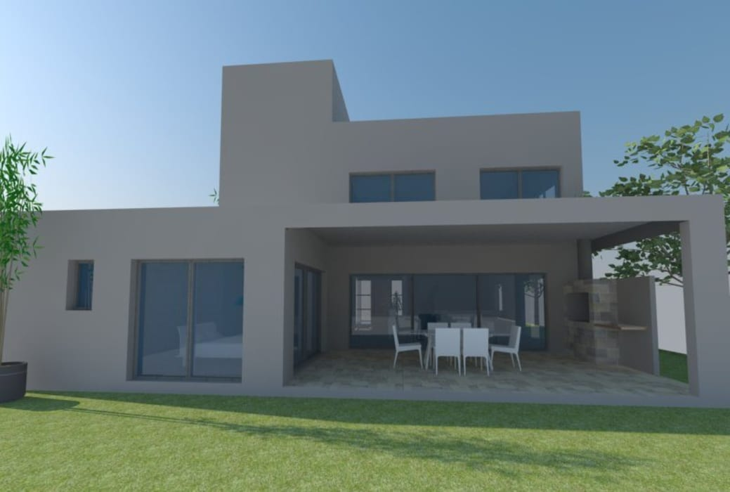 Fachada posterior Casas modernas: Ideas, imágenes y decoración de E+ arquitectura Moderno Ladrillos