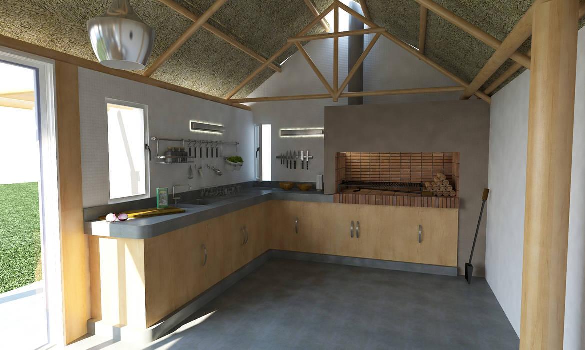 Asador y mesada quincho Cocinas modernas: Ideas, imágenes y decoración de Bessone Arquitectos Moderno