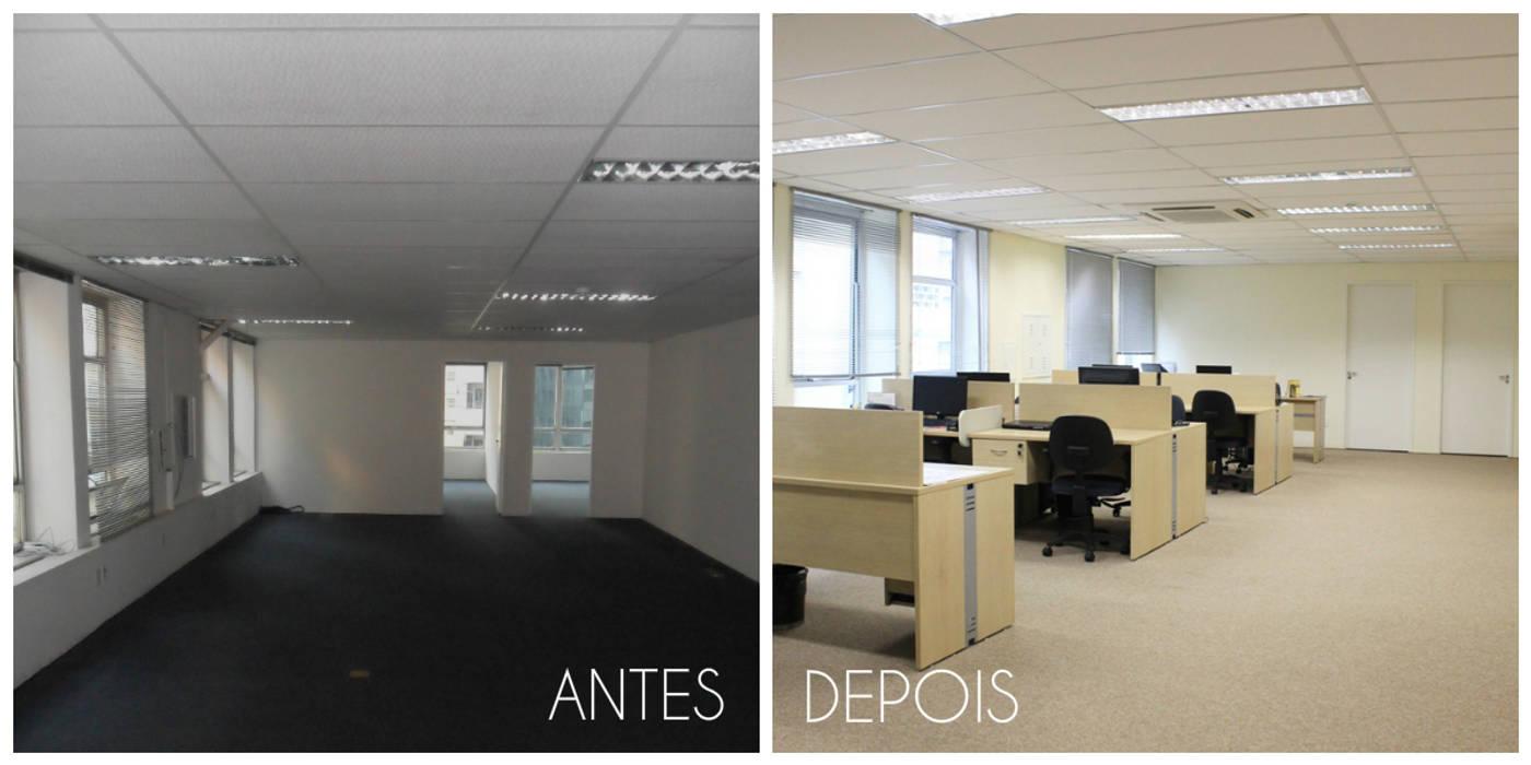 Antes e depois da reforma da sala do operacional Edifícios comerciais minimalistas por É! Arquitetura e Design Minimalista MDF
