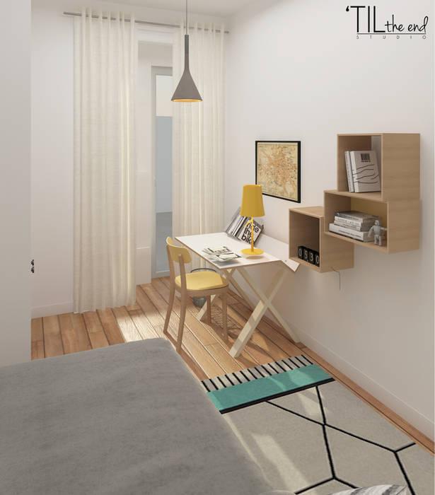 Apartment in Belém: Quartos de criança  por Lagom studio,Escandinavo Madeira Acabamento em madeira