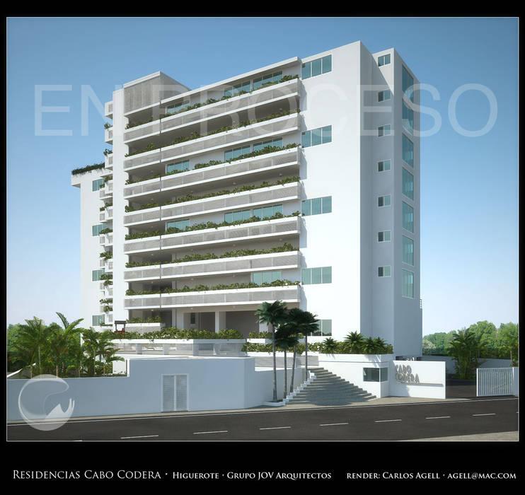 Imagenes 3D (Render) proyecto de Arquitectura: Residencias Cabo Codera. Casas de estilo minimalista de Grupo JOV Arquitectos Minimalista Mármol