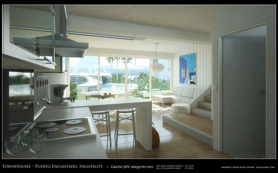 Imagenes 3D (Render) Vista interna de la planta baja,  Cocina, area social vista hacia la piscina y exteriores: Pasillos y vestíbulos de estilo  por Grupo JOV Arquitectos, Minimalista Mármol