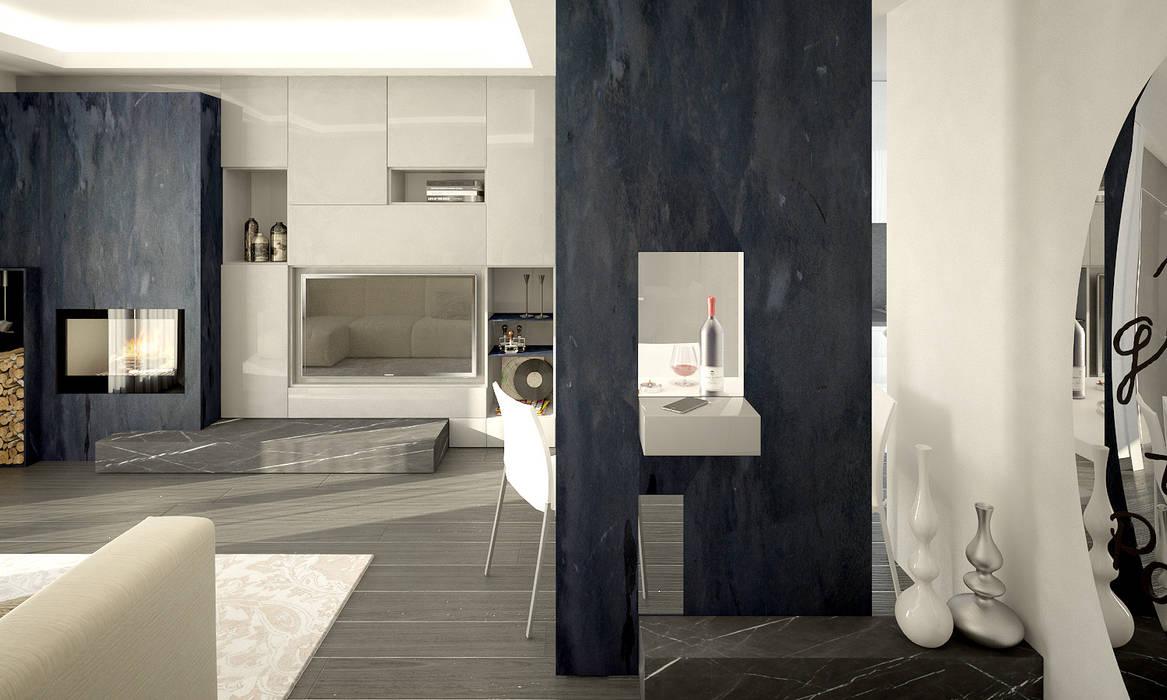 Render : Ingresso & Corridoio in stile  di QUADRASTUDIO