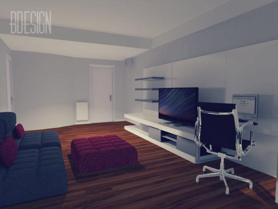 Maqueta digital con distribucion y equipamiento Salones minimalistas de Estudio BDesign Minimalista Compuestos de madera y plástico