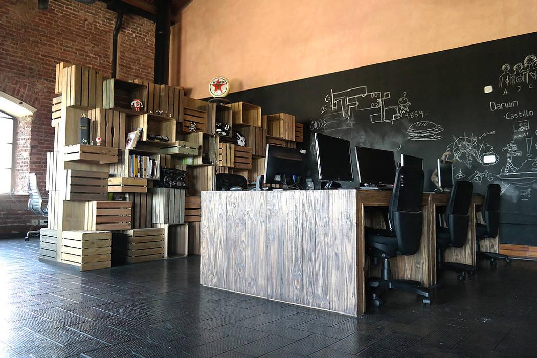 diseño de oficinas - PIXOWL:  de estilo industrial por Estudio Cebra,Industrial Madera Acabado en madera