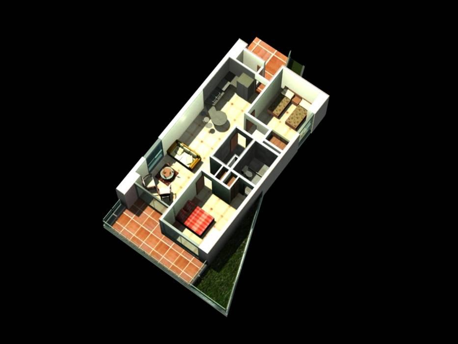 MODELO DE APARTAMENTO TIPO A  REDIDENCIA ABISAI SUITES: Salas / recibidores de estilo  por Grupo JOV Arquitectos